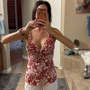 Red and white floral tank top!